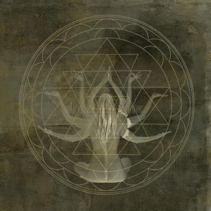 Mandala de Shakti da ioga ilustração stock
