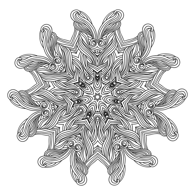 Mandala de style de vague pour livre de coloriage Ornement rond décoratif modèle de thérapie d'Anti-effort Élément de conception  illustration stock