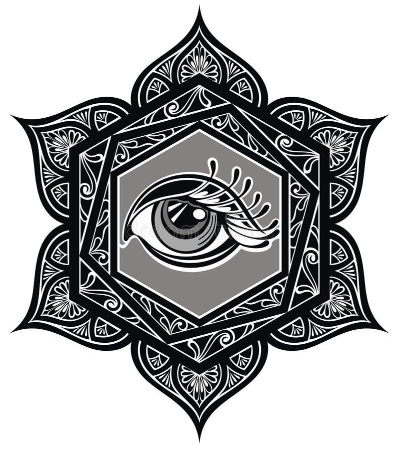 mandala de tatouage avec l 39 oeil illustration de vecteur illustration du d coratif livre 94063741. Black Bedroom Furniture Sets. Home Design Ideas