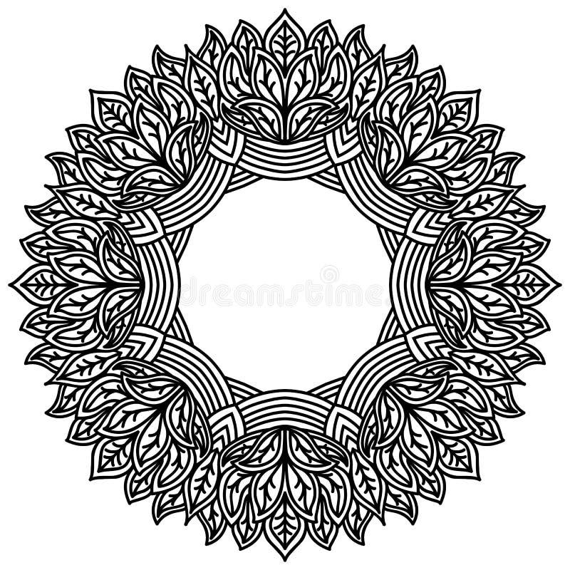 Mandala de Zentangle com teste padrão das folhas Quadro cinzelado laço no fundo branco Modele apropriado para o corte do laser, c ilustração do vetor
