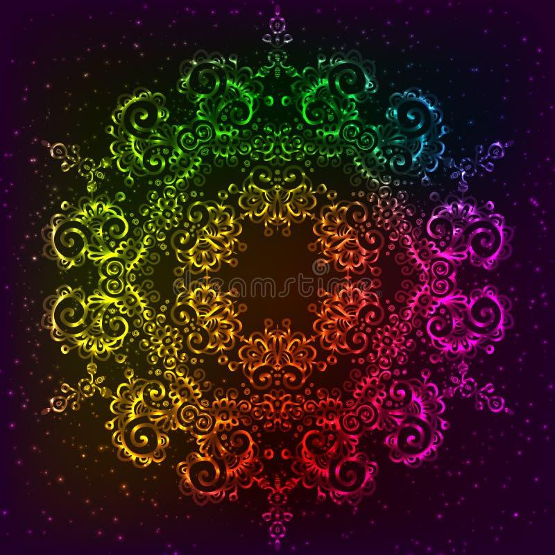 Mandala decorata del neon dell'arcobaleno di vettore royalty illustrazione gratis