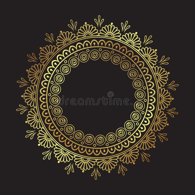 Mandala decorata dell'oro del pizzo rotondo indiano decorativo isolata sopra l'illustrazione nera di vettore di progettazione del illustrazione di stock