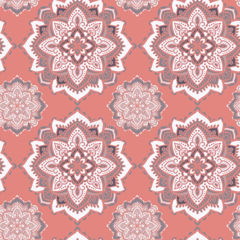 Mandala decoratief naadloos vectorpatroon Zoete roze en grijze caleidoscopische achtergrond vector illustratie