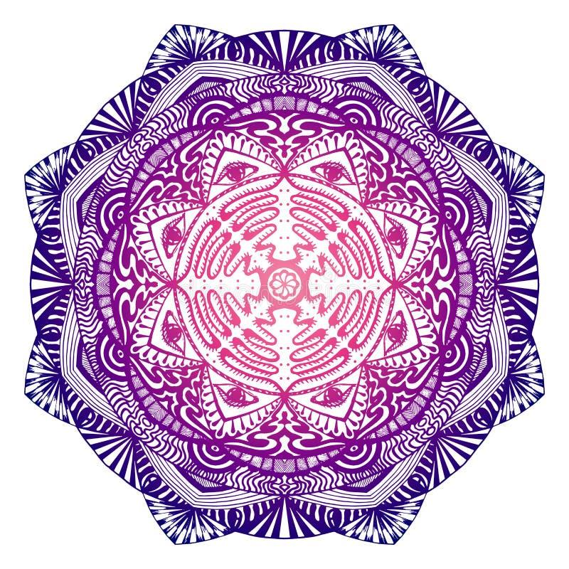 Mandala decorativa con el ojo todo-que ve en los colores púrpura-rosados stock de ilustración