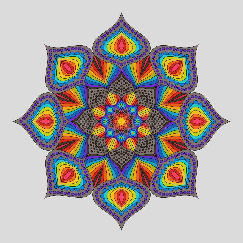 Mandala decorativa d'annata dell'arcobaleno dell'elemento royalty illustrazione gratis