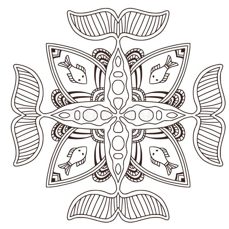 Mandala decorativa do oceano com peixes Projeto da arte da tatuagem Teste padrão do ornamento do tapete Vetor para a página adult ilustração royalty free