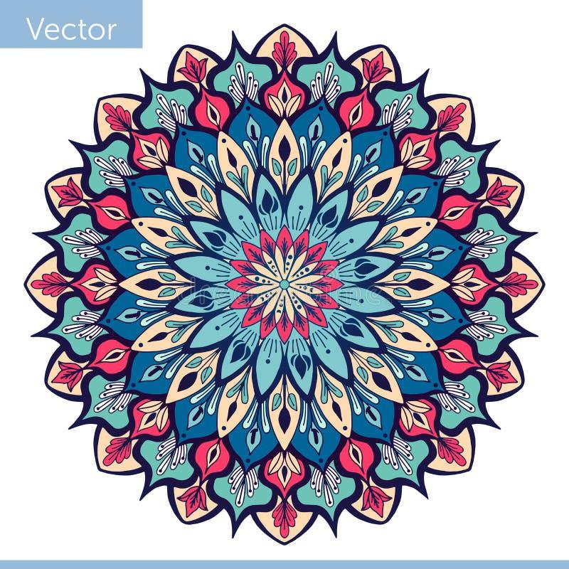 Mandala decorativa em cores cor-de-rosa azuis ilustração do vetor