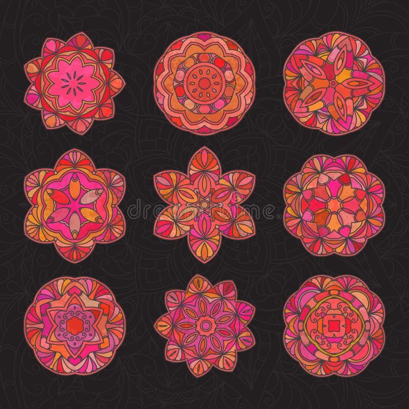 Mandala decorativa tirada mão ilustração do vetor