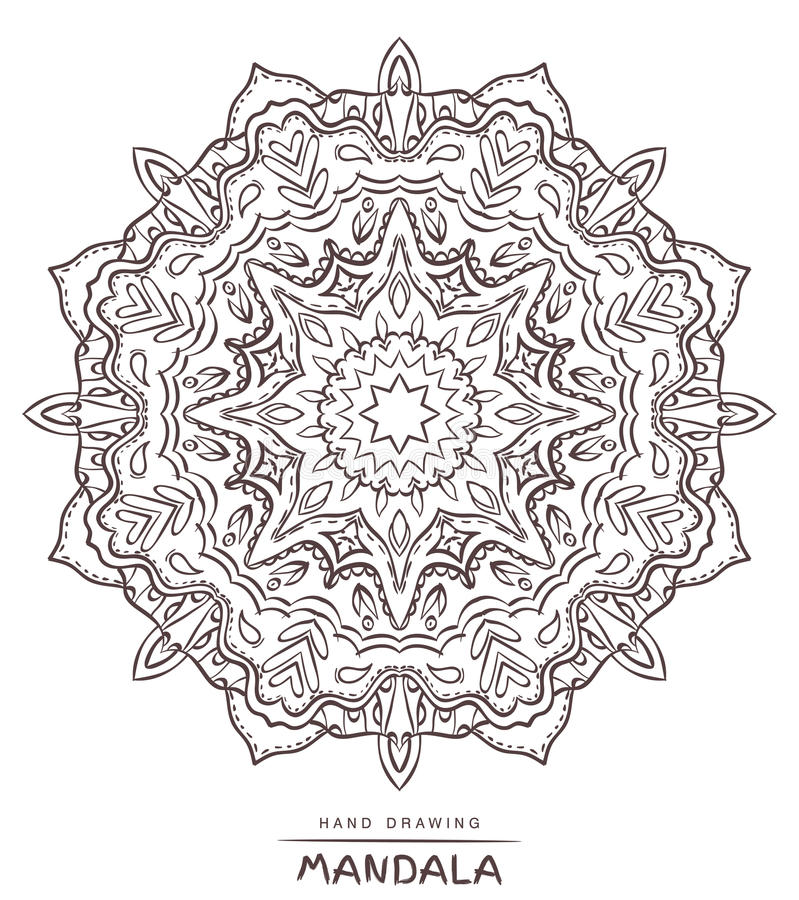 Mandala with decorative elements for coloring on white royalty free stock photos