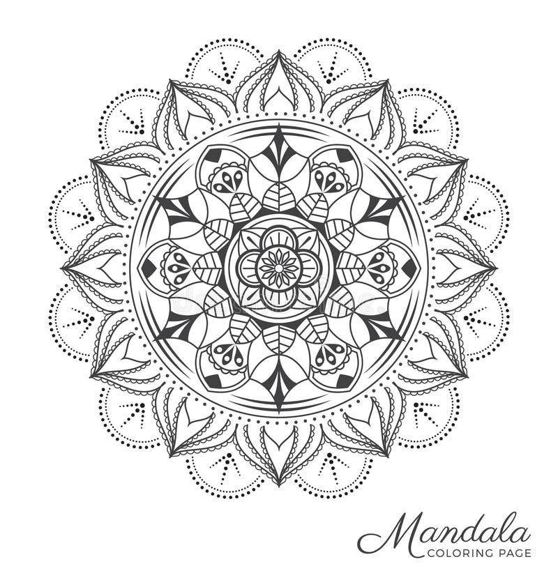 Mandala decorative ornament design. Tibetan mandala decorative ornament design for adult coloring page, greeting card, invitation, tattoo, yoga and spa symbol vector illustration