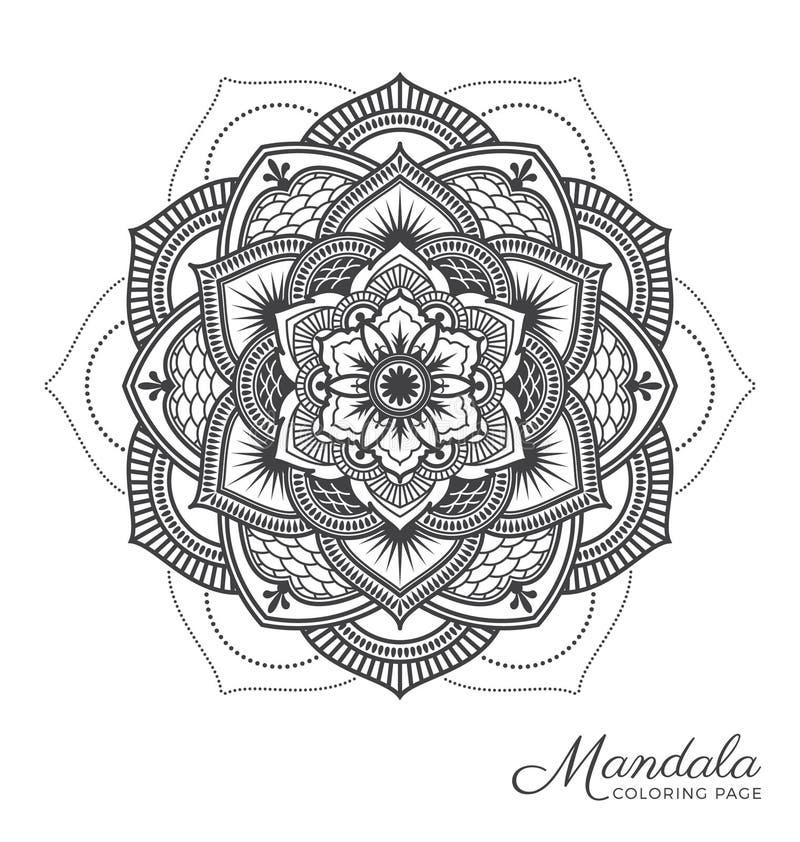Mandala decorative ornament design. Tibetan mandala decorative ornament design for adult coloring page, greeting card, invitation, tattoo, yoga and spa symbol royalty free illustration