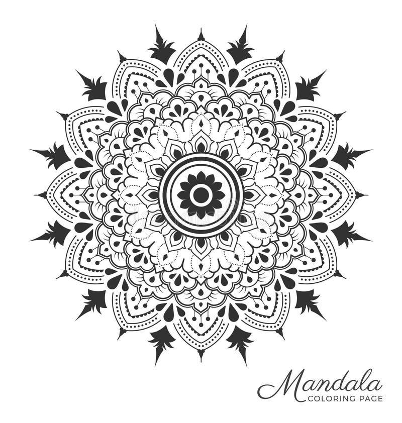 Mandala decorative ornament design. Tibetan mandala decorative ornament design for adult coloring page, greeting card, invitation, tattoo, yoga and spa symbol stock illustration