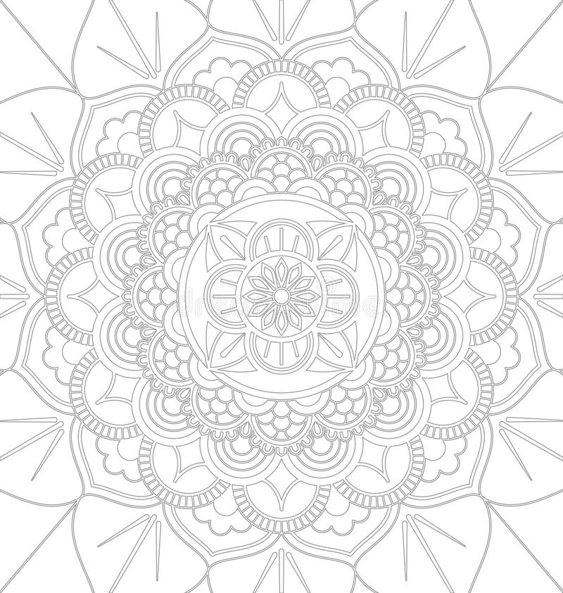Mandala decorative ornament design. Tibetan mandala decorative ornament design for adult coloring page. Vector illustration stock illustration