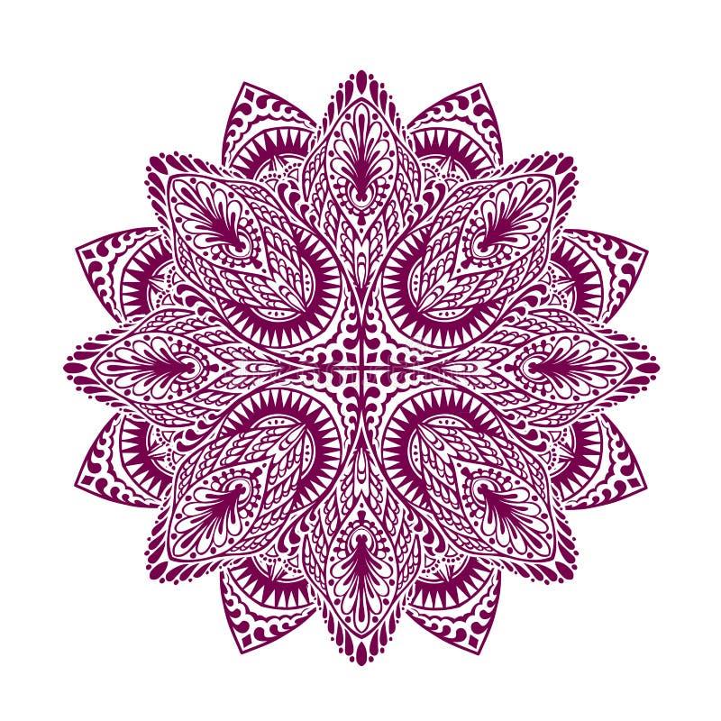 mandala Dekorativ etnisk blom- prydnad också vektor för coreldrawillustration royaltyfri illustrationer