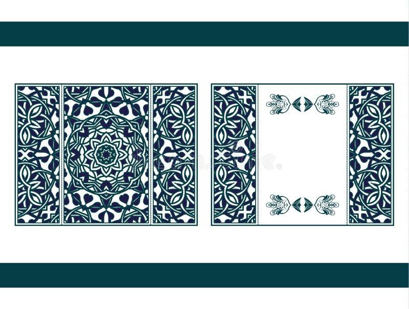 Mandala del corte del laser del aviador Tarjeta de papel del vector con el modelo del cordón del verde, color de la turquesa Invi stock de ilustración