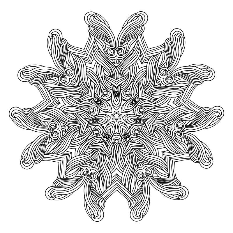 Mandala del estilo de la onda para el libro de colorear Ornamento redondo decorativo Modelo antiesfuerzo de la terapia Elemento d stock de ilustración