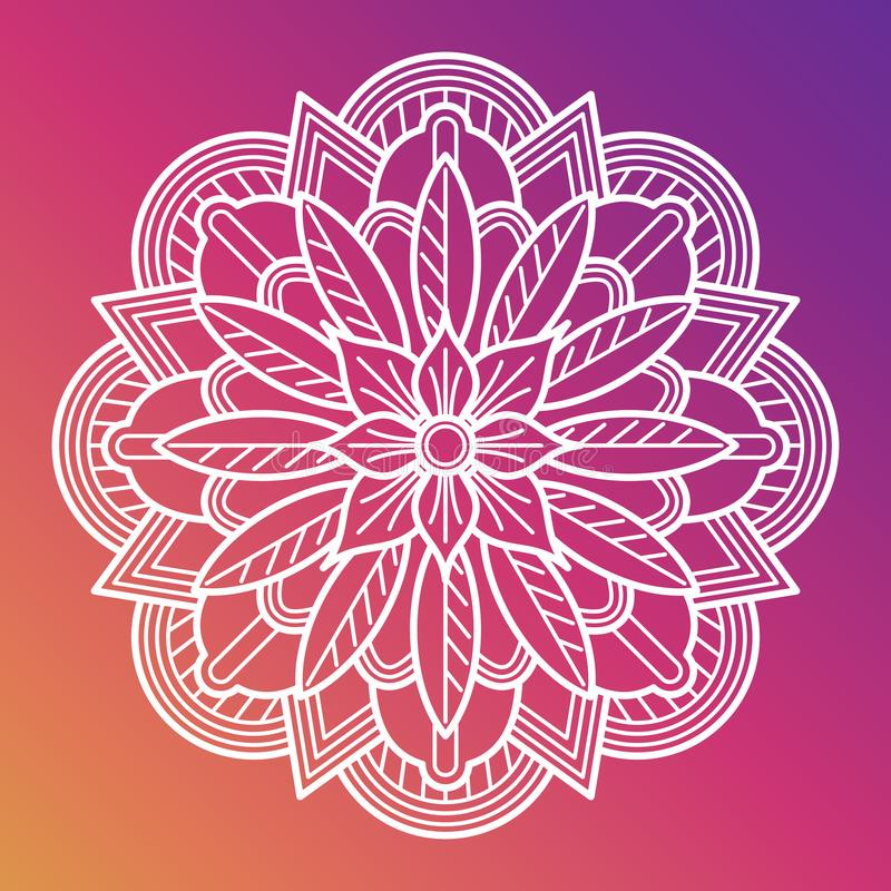 Mandala del fiore bianco Elemento decorativo arabo asiatico orientale illustrazione di stock