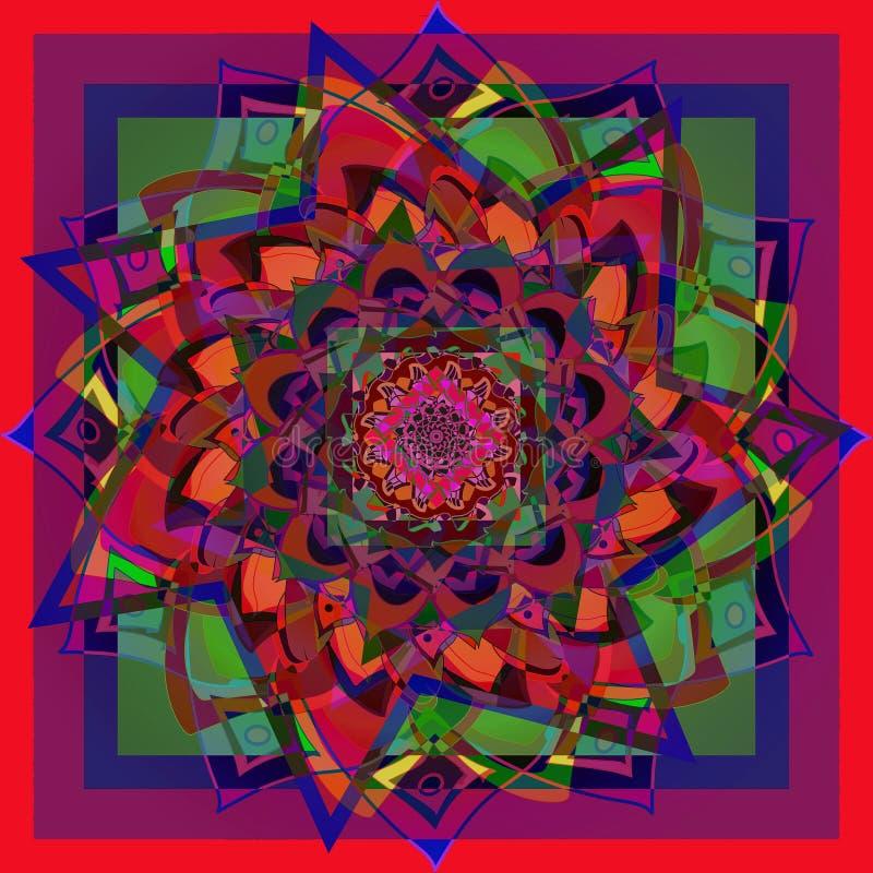 Mandala del fiore della dalia nel colore luminoso, fondo rosso, blu, porpora, verde, geometrico royalty illustrazione gratis