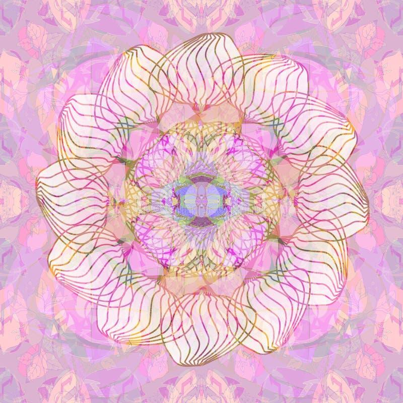Mandala del fiore Progettazione lineare ROSA FLOREALE E FONDO PORPORA Stile dell'annata PALLET DI COLORI PASTELLI IN PORPORA ED I illustrazione di stock