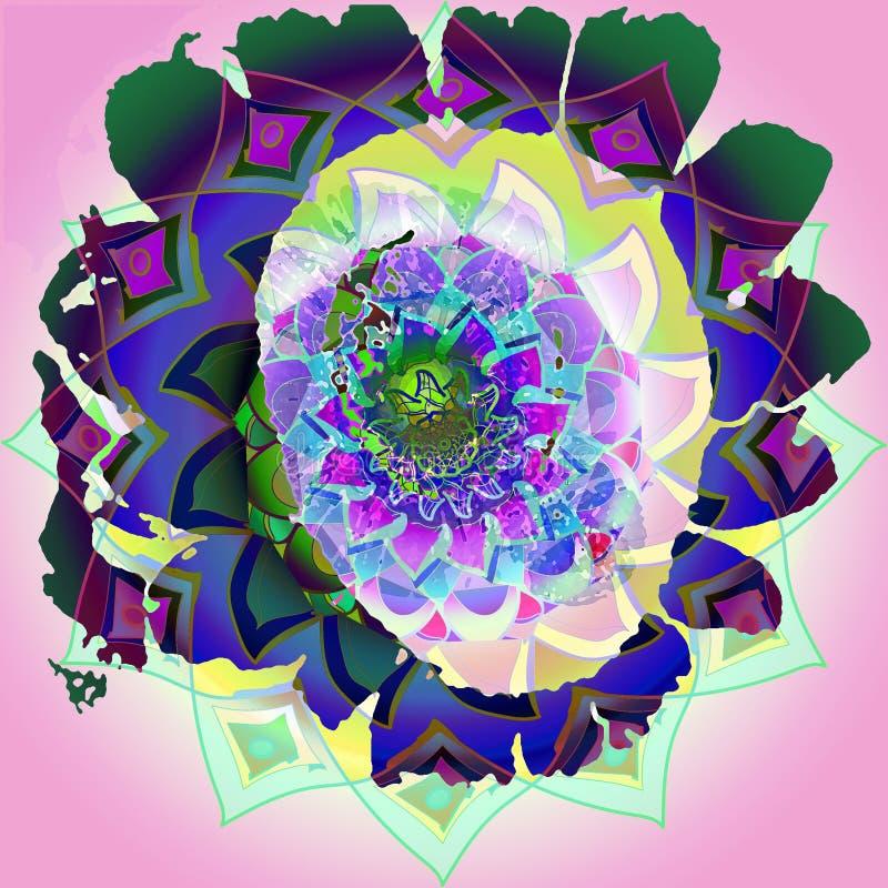 Mandala del girasol con colores claros centrales en un fondo rosa claro imagen del vintage en verde, púrpura, azul, aguamarina libre illustration