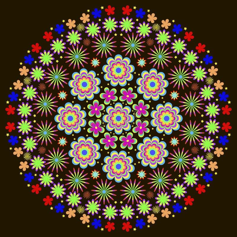 Mandala del modelo del verano del ` s de los niños con las flores stock de ilustración