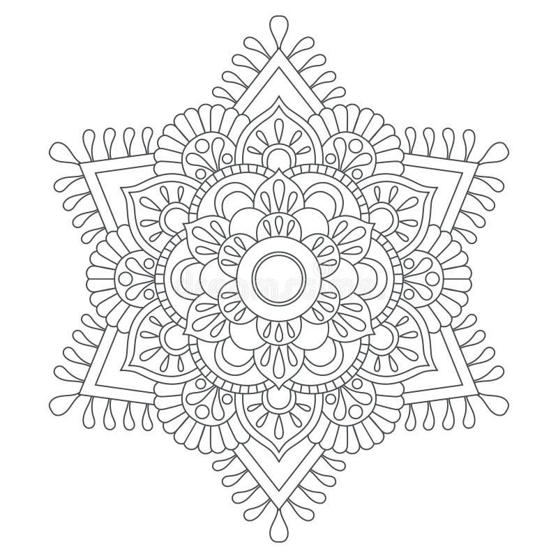 Mandala del profilo per il libro da colorare modello di terapia di Anti-sforzo Ornamento rotondo decorativo Immagine di vettore illustrazione vettoriale