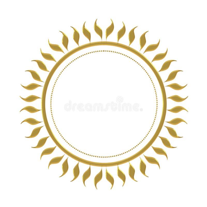 Mandala del sole di effetto dell'oro isolata su fondo bianco Con il bordo operato cesellato di effetto royalty illustrazione gratis