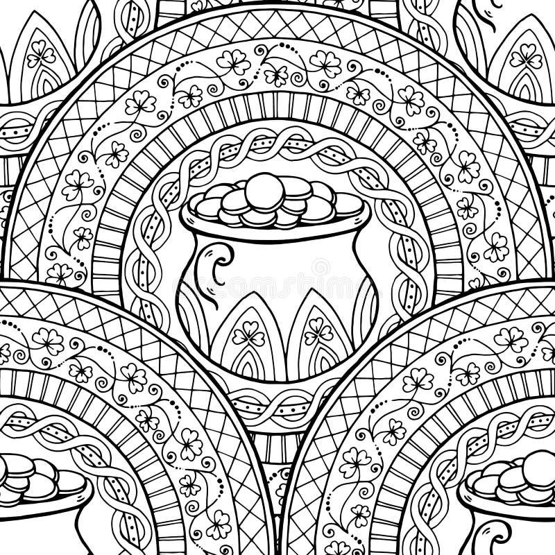 Mandala Del Tema Del Día De St Patrick Con El Pote Irlandés, Monedas ...