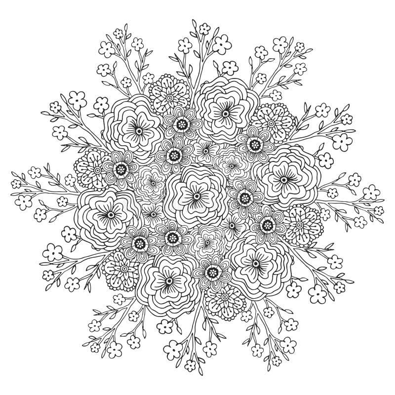 Mandala del vector con el modelo de flores Página adulta del libro de colorear Diseño floral para la decoración ilustración del vector