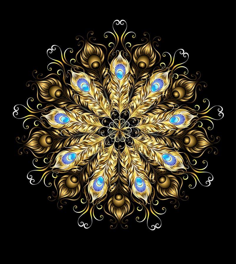 Mandala der goldenen Pfaufedern stock abbildung