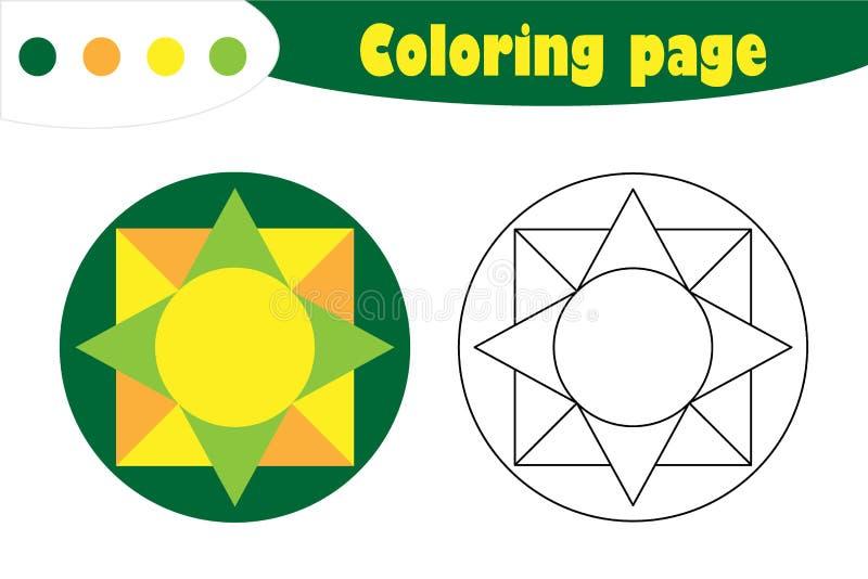 Mandala in der Karikaturart, Färbungsseite, Frühlingsausbildungs-Papierspiel für die Entwicklung von Kindern, Kindervorschultätig vektor abbildung