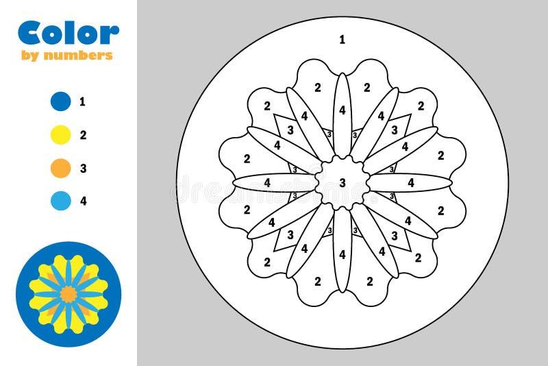 Mandala in der Karikaturart, Farbe durch Zahl, Ausbildungspapierspiel für die Entwicklung von Kindern, Färbungsseite, Kindervorsc vektor abbildung