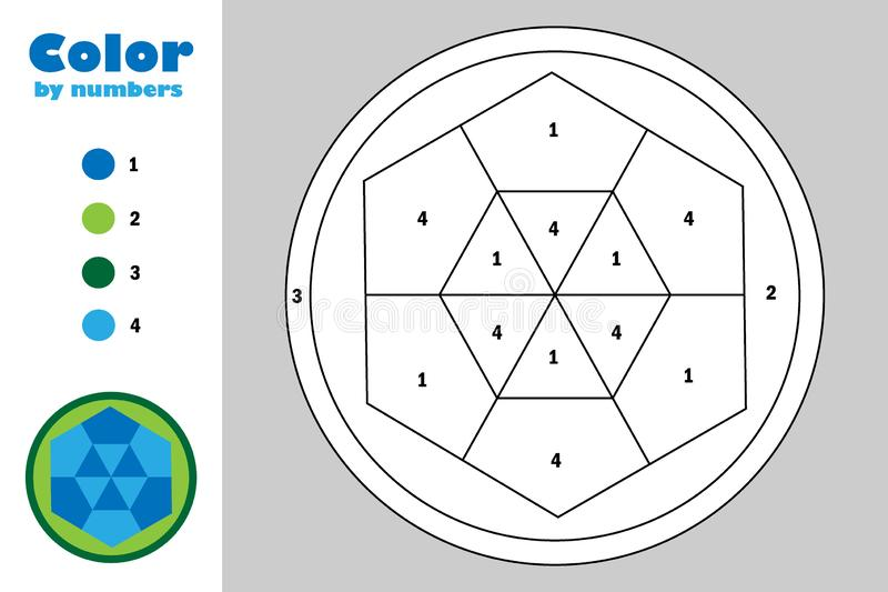 Mandala in der Karikaturart, Farbe durch Zahl, Ausbildungspapierspiel für die Entwicklung von Kindern, Färbungsseite, Kindervorsc stock abbildung