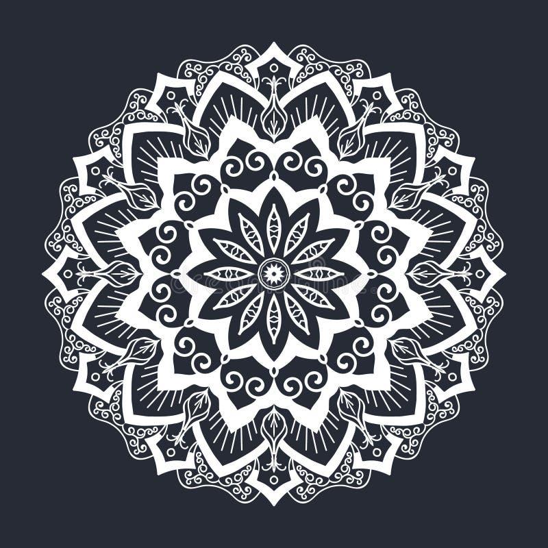 Mandala deseniuje czarny i biały ornament ilustracji