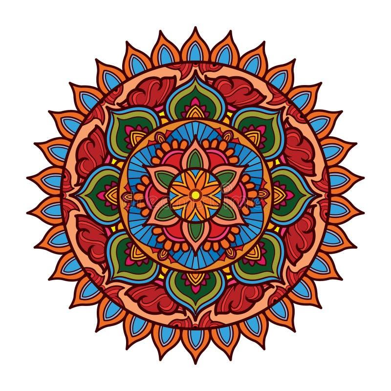 Mandala design with floral and colorful motifs. Decorative vintage mandala art with circular floral motifs vector illustration