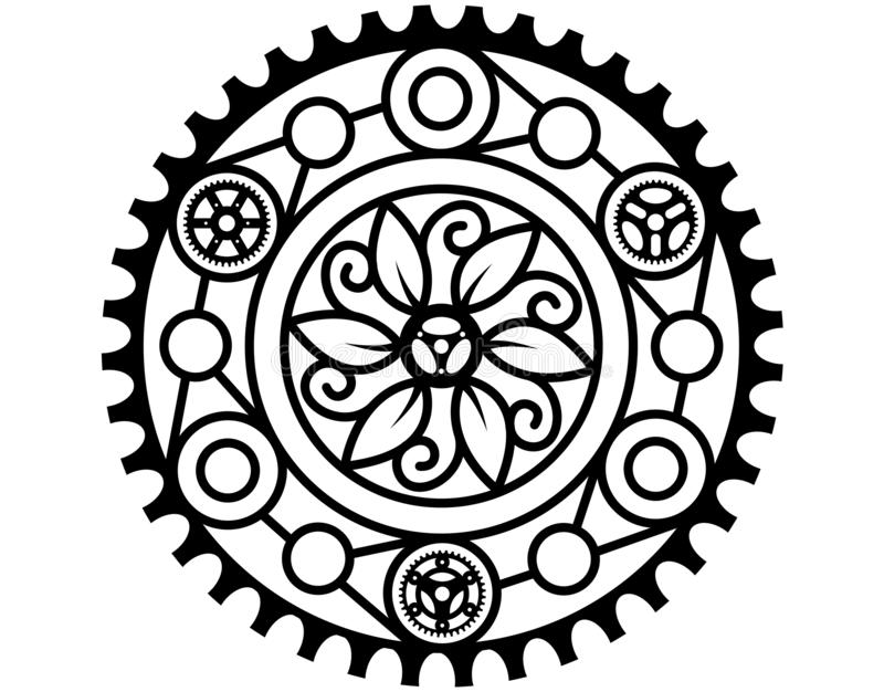 MANDALA DESIGN ONE. Mandala design with flowers and gears, round royalty free illustration