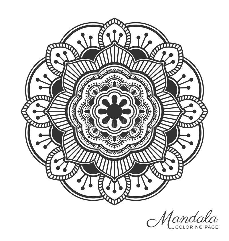Mandala design. Tibetan mandala decorative ornament design for adult coloring page, greeting card, invitation, tattoo, yoga and spa symbol. Vector illustration vector illustration