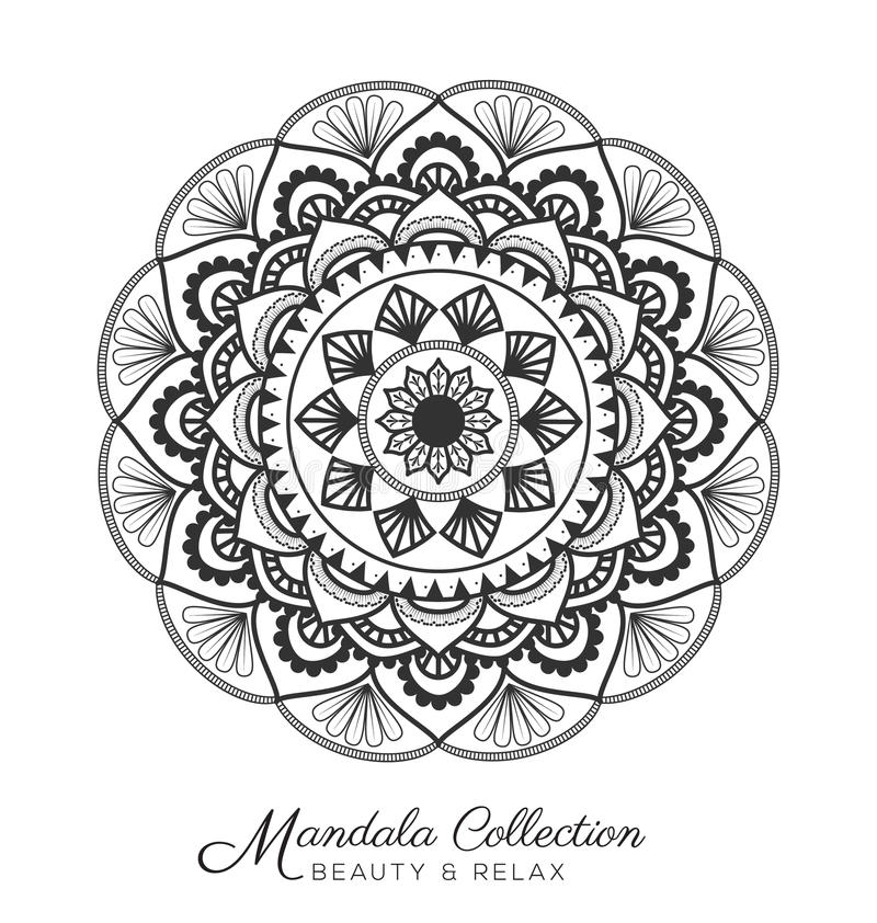 Mandala design. Tibetan mandala decorative ornament design for coloring page, greeting card, invitation, tattoo, yoga and spa symbol. Vector illustration vector illustration