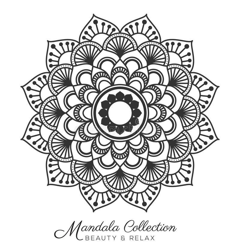 Mandala design. Tibetan mandala decorative ornament design for coloring page, greeting card, invitation, tattoo, yoga and spa symbol. Vector illustration royalty free illustration