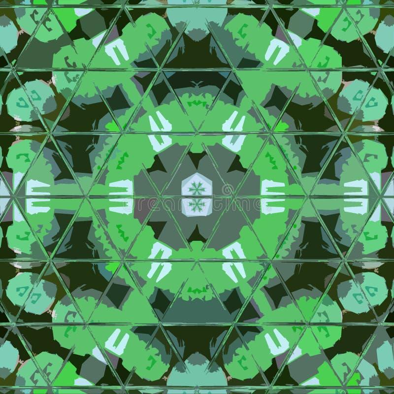 Mandala di amore e di pace in fiore verde con gli elementi del vetro macchiato dei triangoli royalty illustrazione gratis