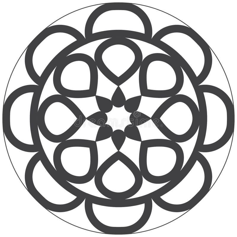 Mandala di progettazione facile e semplice per i bambini e la coloritura adulta royalty illustrazione gratis