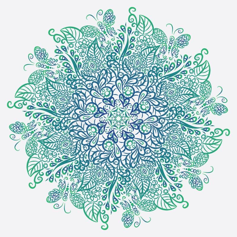 Mandala di vettore Priorità bassa bianca Ornamento blu royalty illustrazione gratis