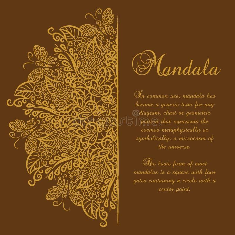 Mandala di vettore Priorità bassa del Brown Ornamento dell'oro illustrazione vettoriale