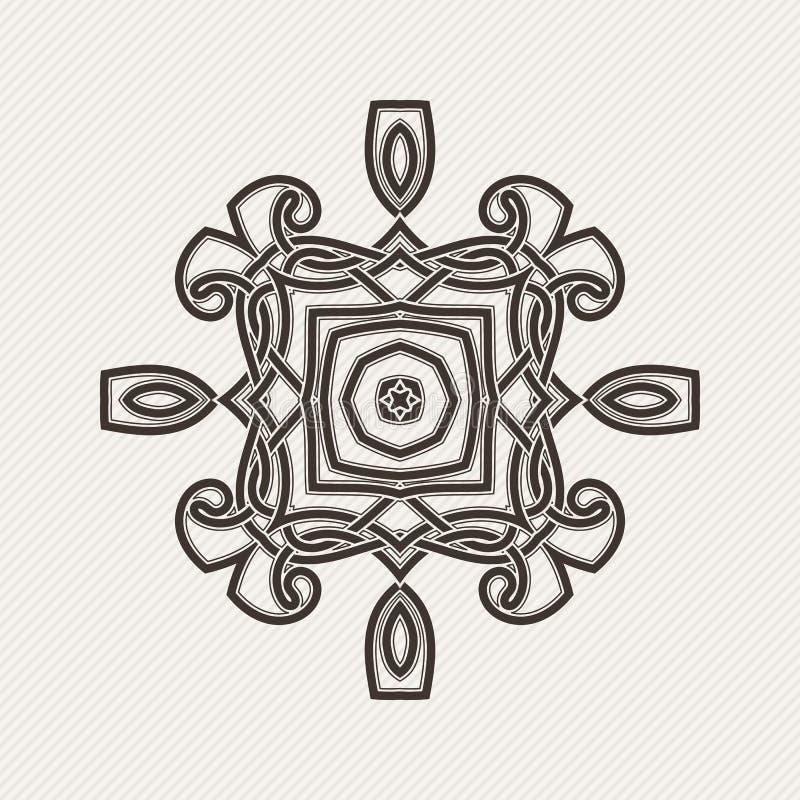 Mandala di vettore Tatuaggio gotico del pizzo Tessuto celtico con gli angoli taglienti illustrazione di stock