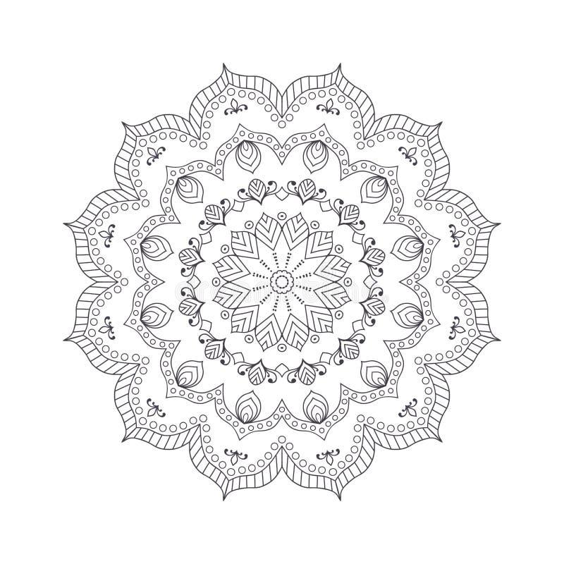 Mandala Dibujada Mano De La Flor Para El Libro De Colorear Eth ...