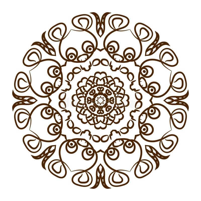 Mandala dibujada mano del tatuaje de la alheña Vector el cordón stock de ilustración