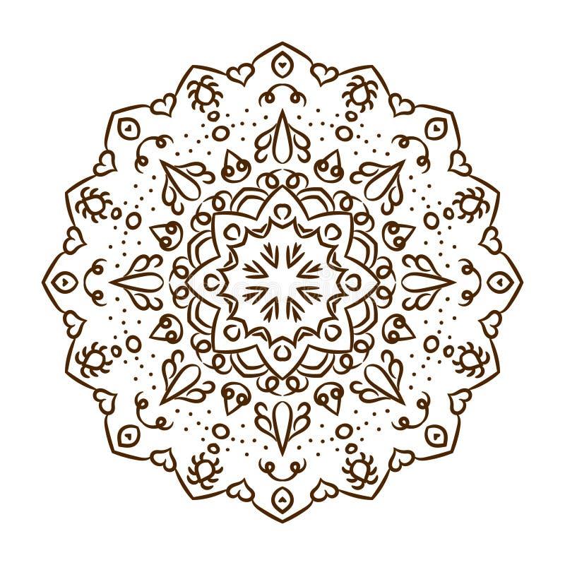 Mandala dibujada mano del tatuaje de la alheña Vector el cordón ilustración del vector