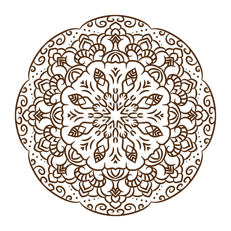 Mandala dibujada mano del tatuaje de la alheña Vector el cordón libre illustration
