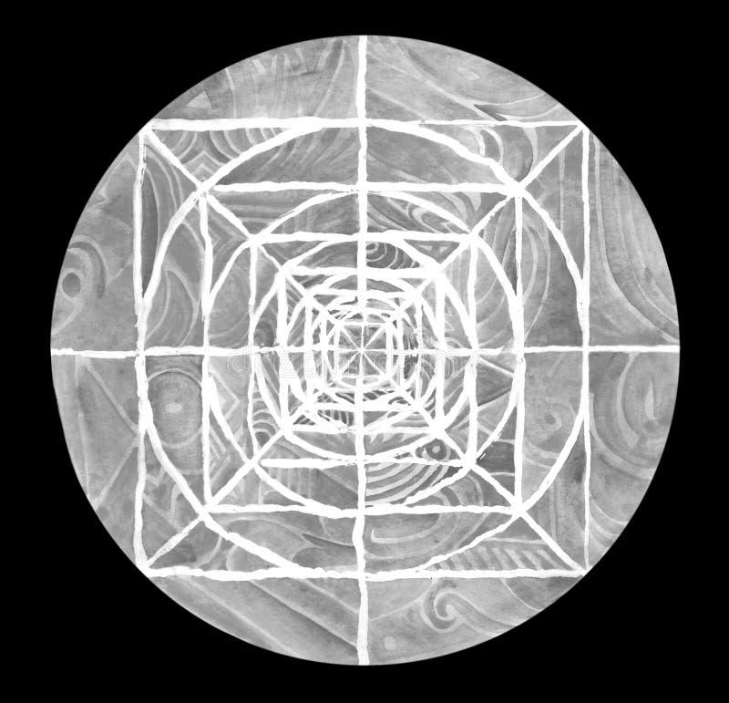 Mandala dipinta Grey immagini stock