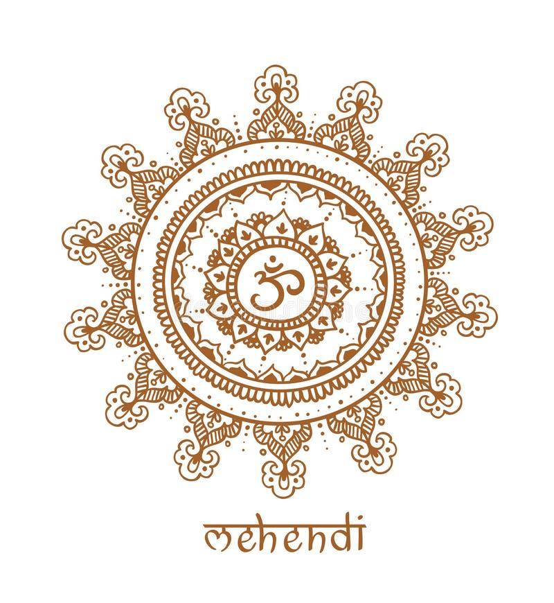 Mandala disegnata a mano con il modello etnico di scarabocchio Il OM - zendala, progettazione per rilassamento spirituale per gli illustrazione di stock